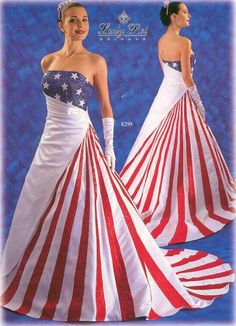 red, white and blue wedding dress  @April Cochran-Smith Briscuso