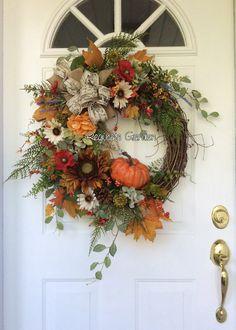 Fall Wreath-FALL Wreath for Front Door-Hydrangea Wreath-Autumn