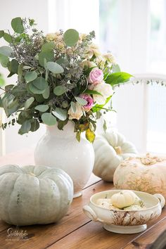 Fall blogger home tour. Seasonal harvest tour with pale shabby chic colors in a French country dining room.