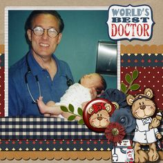 A picture of my daughter with her doctor.  Kit used:  Paty Greif's Let's Play Doctor available at http://store.digiscrappersbrasil.com.br/paty-greif-digital-designer-m-84.html  Template by Connie Prince.