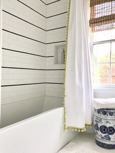 Kids' bathroom renovation: subway tile + chrome - emily a. Bathroom Kids, Bathroom Wall Decor, Small Bathroom, Master Bathroom, Bathroom Hacks, Washroom, Handicap Bathroom, Kids Bath, Bathroom Vanities