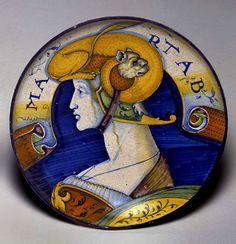 Italian Urbino majolica plate ca.1520–1530. urbino-majolica-palte-433x449