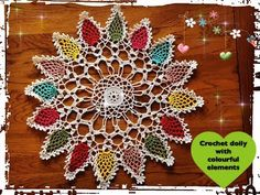 How to crochet doily with colourful elements - YouTube