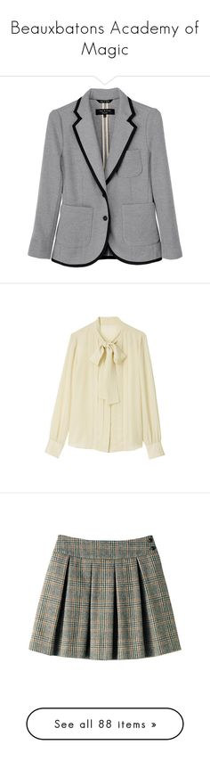 """""""Beauxbatons Academy of Magic"""" by a-little-bit-of-awesomeness ❤ liked on Polyvore featuring outerwear, jackets, blazers, tops, blazer jacket, gray blazer, rag bone jacket, grey blazer, short-sleeve blazers and blouses"""