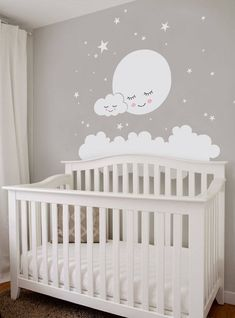 Moon, Clouds and Stars Wall Decal – Vinyl Wall Stickers, Nursery Decor, Kids Stickers – Home Decor Mond Wolken und Sterne Wandtattoo Vinyl-Wandaufkleber Kinderzimmer Dekor Kinder Aufkleber - Colorful Baby Rooms Cloud Nursery Decor, Clouds Nursery, Star Nursery, Nursery Room, Moon Nursery, Baby Room Wall Decor, Elephant Nursery, Girl Nursery, Baby Room Decor For Boys