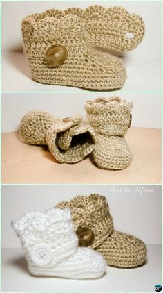 Crochet Wrap Button Boots Free Pattern-Crochet Ankle High Baby Booties Free Patterns