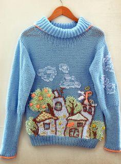 Light blue sweater handmade angel cloud tree house home jumper