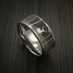 Deer in the Woods Hunter Wedding Ring Cobalt Chrome Band