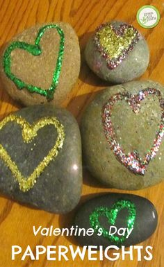 Besides being a fun Valentine's Day craft to make, these Valentine's Paperweights are the perfect gifts to give to loved ones for daily reminders of how much they are loved.   http://www.greenkidcrafts.com/rock-heart-paperweights/