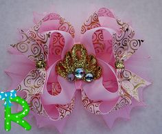 Pink and gold hair bow  pink and gold headband by RoshelysBowtique