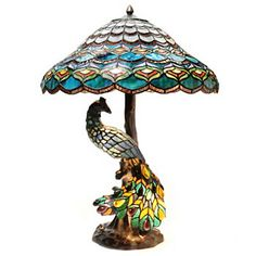 "PEACOCK~Tiffany-Style 26.5"" Peacocks Hallow Double Lit Stained Glass Table Lamp"
