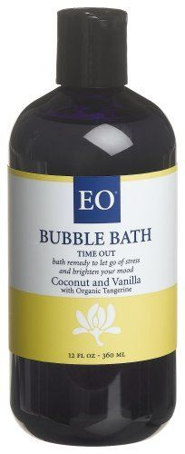 EO Bath Remedies Bubble Bath,  Time Out, 12-Ounce Bottles (Pack of 2) by EO. $22.97. EO's bath remedy to let go of stress and brighten your mood Mountains of bubbles. Tangerine Essential Oil is pressed from the skin of the fruit  This pleasant, uplifting oil relieves stress and tension. Certified Organic Manufacturer and Green Business. Our Bubbles are made from the most gentle, moisturizing and richly foaming ingredients available, safe and lovely for the whole family....
