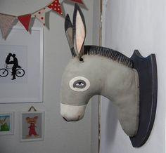 Pour la chambre de mon fils...  Donkey Head Original Contemporary Folk Art by cartbeforethehorse, $120.00