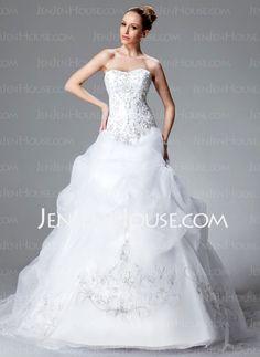Wedding Dresses - $252.99 - Ball-Gown Sweetheart Chapel Train Organza Satin Wedding Dress With Embroidery Ruffle Beadwork Sequins (002004178) http://jenjenhouse.com/Ball-Gown-Sweetheart-Chapel-Train-Organza-Satin-Wedding-Dress-With-Embroidery-Ruffle-Beadwork-Sequins-002004178-g4178