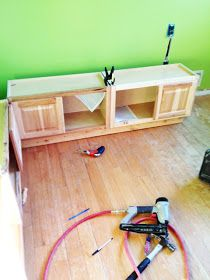 Diy Banquette Out Of Cabinets