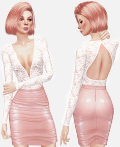 LACE BODYSUIT at Leeloo via Sims 4 Updates
