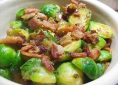 BRUSSELS SPROUTS WITH ONIONS AND BACON 1/2 pound lean bacon, finely diced 1 medium yellow onion, diced 2 cloves garlic, minced 2 pounds Brussels sprouts, trimmed Salt and freshly ground black pepper 2 cups chicken broth 4 tablespoons butter Instructions In a heavy-bottomed pot over medium heat, fry the bacon until crisp. Remove the bacon and drain on paper towels. Saute the onion and garlic in the bacon fat over low heat until soft, about 3 minutes. Add the Brussels sprouts and stir them ....