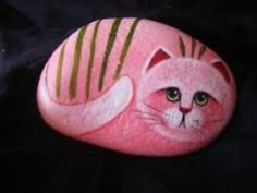 PINK CAT painted stones