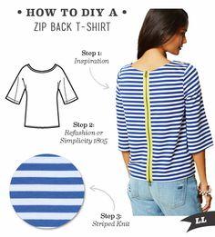 ZIPPER t shirts diy | DIY Outfit – Zip Back T-shirt