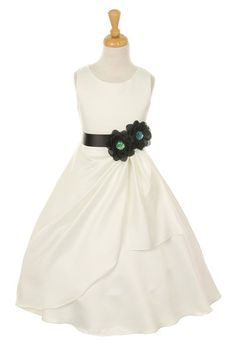 Girls Dress Style 1165- Choice of White or Ivory Dress with Black Ribbon and Flower