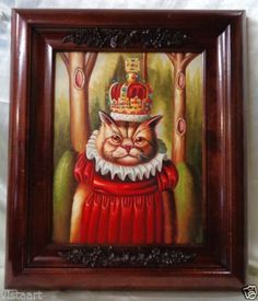 Oil-Painting-on-Canvas-w-Vintage-Style-Wood-Frame-Royal-Cat-Queen-20x17