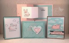 Debbie's Designs: August Stamp Set Spotlight using Stampin' Up! This Little Piggy. Set of 4 cards. Clean & Simple, Stepped Up, Technique Card and Z Card Fold. Debbie Henderson #thislittlepiggy #stampinup #embossingpaste #cardfold #technique #debbiehenderson #debbiesdesigns