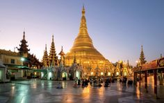 """SHWEDAGON PAGODA, YANGON, MYANMAR  """"Then, a golden mystery upheaved itself on the horizon—a beautiful, winking wonder that blazed in the sun, of a shape that was neither Muslim dome nor Hindu temple spire. . . . The golden dome said: 'This is Burma, and it will be quite unlike any land you know about.'?""""  —RUDYARD KIPLING"""