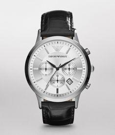 Emporio Armani Men's Renato Leather Chronograph Watch