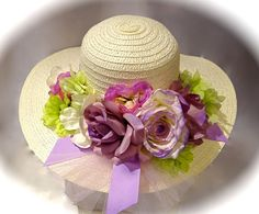 Lavender & Lime Kentucky Derby Floral Hat Mother of the Bride OOAK Tea Hats, Tea Party Hats, Silk Flower Bouquets, Silk Flowers, Spring Hats, Fancy Hats, Kentucky Derby Hats, Hats For Women, Ladies Hats