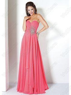 Floor-Length Chiffon Beading Red Dress - Vuhera.com