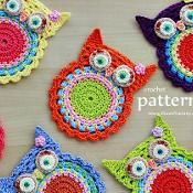 Crochet Pattern - Owl Coaster - 058 - via @Craftsy-Like the circle for the owl belly. cute