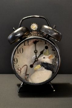 Taxidermy Mouse in a Clock....with cheese by Deni Kendig of Sparrowsongs