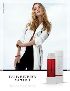 Burberry Sport for Women was created by Olivier Polge and Beatrice Piguet of mandarin and sea salt in the very beginning. A heart encompasses floral notes of magnolia, honeysuckle and petit grain, while a base features solar accords, musk and cedar. Burberry Perfume, Lily Donaldson, Perfume Ad, Burberry Brit, Sports Women, Under Armour Women, Nordstrom, Feminine, Coat