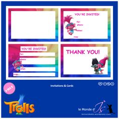 Trolls – Page 2 – le Monde d'Is Free Party Invitations, Invitation Cards, Birthday Cards, Happy Birthday, Birthday Parties, Birthday Ideas, Mini Albums, Troll Party, Youre Invited