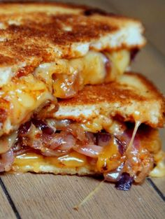 Sweet and Spicy caramelized onion BBQ grilled cheese. Oh sweet mother! Salivating!!!! Sammies gone gourmet!