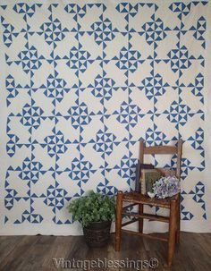 """Wow! Outstanding ANTIQUE c1920 Blue and White Large QUILT 89"""" x 82"""""""