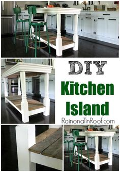 How We Built The Kitchen Island - an easy DIY Kitchen Island built using reclaimed items.