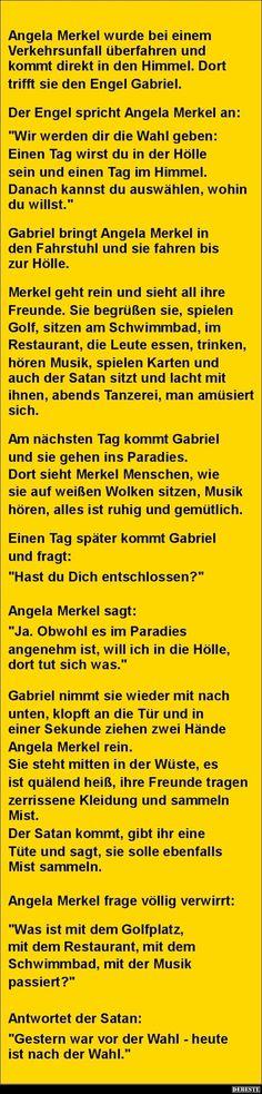 Angela Merkel wurde bei einem Verkehrsunfall überfahren.. | Lustige Bilder, Sprüche, Witze, echt lustig: