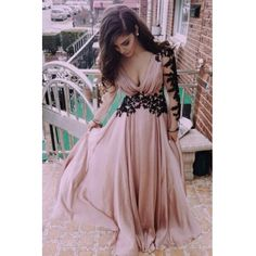 Fashion V Neck Long Sleeves Lace Patchwork Nude Colored Chiffon Ankle Length Dress
