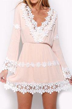 Lace Hem Chiffon Dress