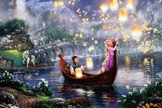 thomas kinkade studios disney tangled print size 49 200 e p . Disney Rapunzel, Arte Disney, Disney Magic, Disney Art, Rapunzel Castle, Punk Disney, Disney Princesses, Disney Characters, Thomas Kinkade Disney