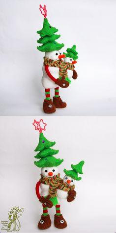 Amigurumi Snowman Family. Crochet Snowmen. Crochet christmas tree. Amigurumi fur tree. Crochet pattern is available