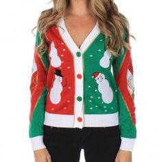 Women's Dancing Snowmen Cardigan with Elbow Patches Ugly Christmas Sweater  See Frosty. See Frosty dance! This adorable women's V-neck buttoned Christmas sweater provides a look at what it must have been like on that magical day when the snowman came to life. Each panel depicts a dancing snowman against a background of red or green, while tiny snowflakes fall all around. A plaid design decorates the yoke and elbow patches for extra whimsy.