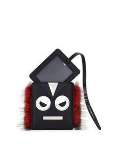 FENDI Monster Face Fur-Trim Luggage Tag, Black/Red. #fendi #
