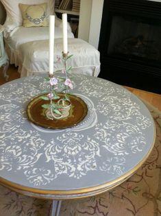 Paris Grey with stencil (Laura's table)