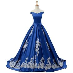 2016 Cap Sleeves Ball Gown Appliques Quinceanera Prom Dresses... ($220) ❤ liked on Polyvore featuring dresses, gowns, blue quinceanera dresses, quinceanera dresses, blue cap sleeve dress, quinceanera ball gowns and reception dresses