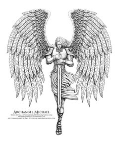Archangel Michael 2 by BryanSevilla--this is a more accurate depiction of the size of an archangel's wings Mais Archangel Michael Tattoo, St Michael Tattoo, Archangel Gabriel, Tatoo Angel, Guardian Angel Tattoo, Body Art Tattoos, Tattoo Drawings, Sleeve Tattoos, Tatoos