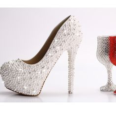 Free Shipping Pearl inlayed crystal high heel wedding shoes platform white dress czech rhinestone pumps on AliExpress.com. 5% off $126.33