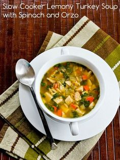 Recipe for Slow Cooker Lemony Turkey or Chicken Soup with Spinach and Orzo; make this delicious soup whenever you have leftover turkey or chicken! [from KalynsKitchen.com] #SlowCookerTurkeySoup