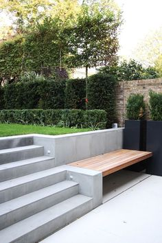 Garden Design Pool Carlton Hill Refurbishment and extension by Cousins & Cousins Architects is part of Garden stairs - Sloped Backyard, Backyard Design, Contemporary Garden, Terrace Design, Modern Garden Design, Garden Stairs, Wall Seating